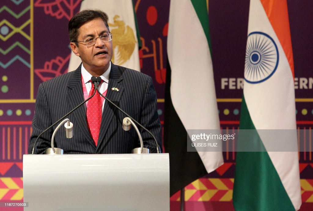 Indian ambassador to Mexico, Manpreet Vohra, speaks during the presentation of Sharjah   as a guest city of the 2020 Guadalajara International Book Fair, during the fair in Guadalajara, Mexico, on December 8, 2019. (Photo by Ulises Ruiz / AFP) (Photo by ULISES RUIZ/AFP via Getty Images)